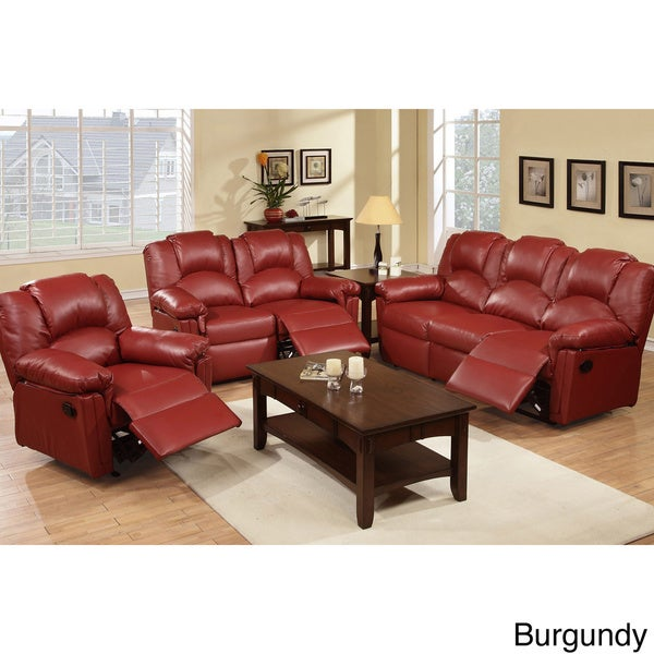 Grenoble Bonded Leather Reclining Living Room Set - Free Shipping Today -  Overstock.com - 16248293 - Grenoble Bonded Leather Reclining Living Room Set - Free Shipping