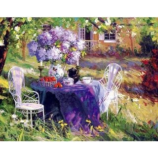 Benjamin 'Lilac Tea Party 2' Canvas Art