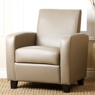 Abbyson Mercer Taupe Bonded Leather Club Chair
