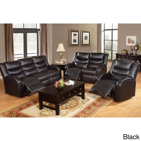 Rouen Bonded Leather Recliner Motion Living Room Set Free Shipping Today