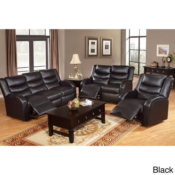 Rouen bonded leather recliner motion living room set for Black living room furniture sets