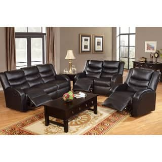 black living room furniture set. Rouen Bonded Leather Recliner Motion Living Room Set Black Furniture Sets For Less  Overstock com