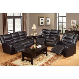 Rouen Bonded Leather Recliner Motion Living Room Set Black Furniture Sets For Less  Overstock com