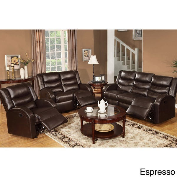 Rouen Bonded Leather Recliner Motion Living Room Set - Free Shipping Today - Overstock.com - 16248338  sc 1 st  Overstock.com & Rouen Bonded Leather Recliner Motion Living Room Set - Free ... islam-shia.org