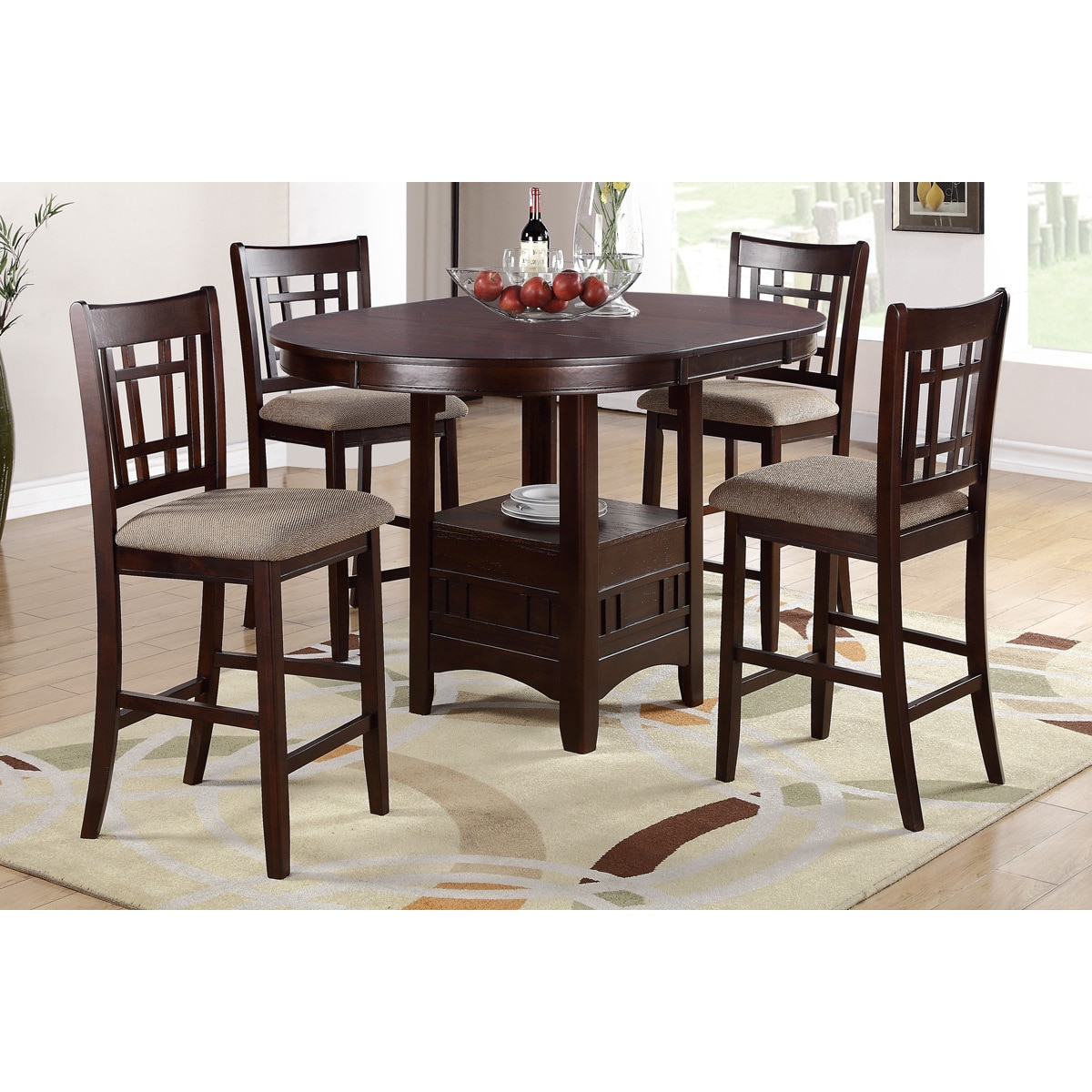 Poundex Pesaro 5 pieces Counter Height Oval Table with Co...