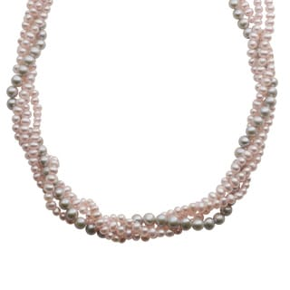 Pearls For You 14k White Gold Dyed Pink/ Grey Freshwater Potato Pearl 4-Strand Necklace (5-5.5 mm, 3.5-4 mm)