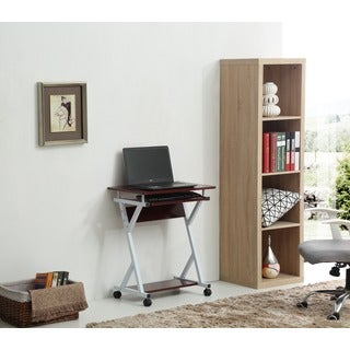 Rolling Metal Frame Wood Top Laptop Desk