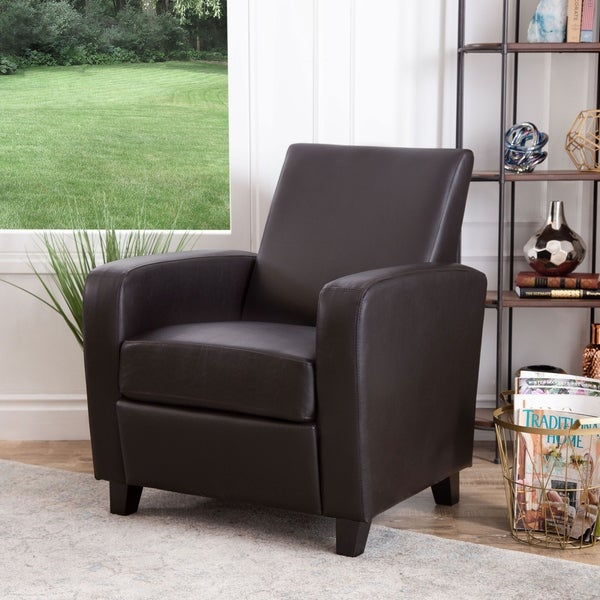 Charmant Abbyson Mercer Brown Bonded Leather Club Chair