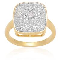 Finesque 14k Gold Overlay Diamond Accent Flower Design Ring