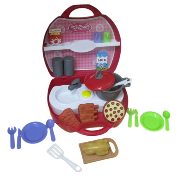 DimpleChild On-The-Go Pink 32-piece Mini Dinner Kitchen Set