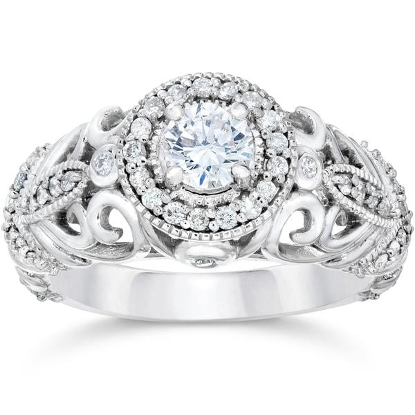 14k White Gold 3/4ct TDW Vintage Diamond Ring