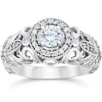 14k White Gold 3/4ct TDW Vintage Diamond Ring