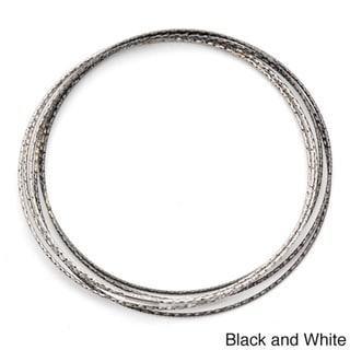 Gioelli Sterling Silver Interlocking Diamond Cut Slip-On Stack Bangles