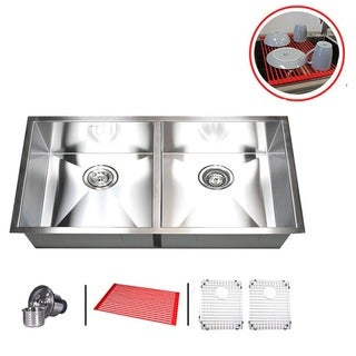 "37"" Stainless Steel Double Bowl 50/50 Undermount Kitchen Sink Combo"