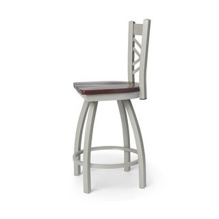 Contemporary Steel Frame with Maple Seat Counter-height Stool