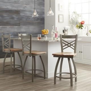 Contemporary Steel Frame With Maple Seat Counter Height Stool