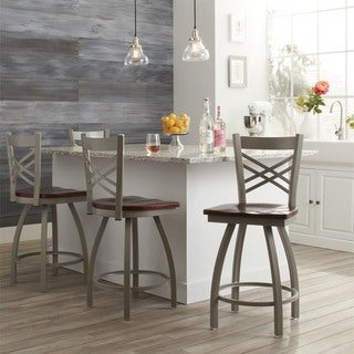 Steel Frame/ Oak 25-inch Counter Stool
