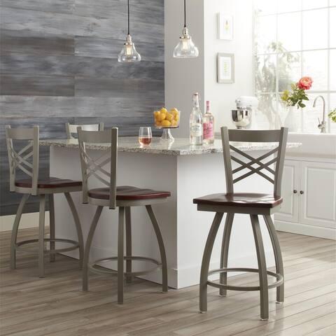 Steel Frame/ Oak 25-inch Counter Stool