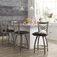 Steel Frame Black Upholstery 25-inch Counter Stool