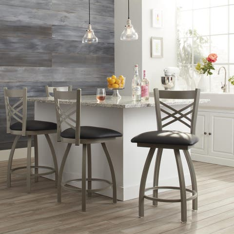 Steel Frame Black Upholstery 25-inch Counter Stool