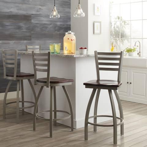 Steel Frame/ Wood Seat Bar Stool