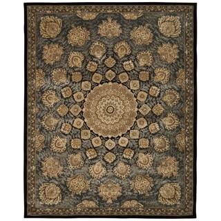 Nourison 2000 Floral Black Rug (7'9 x 9'9)