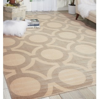Nourison Luminance Cream Grey Rug (9'3 x 12'9)
