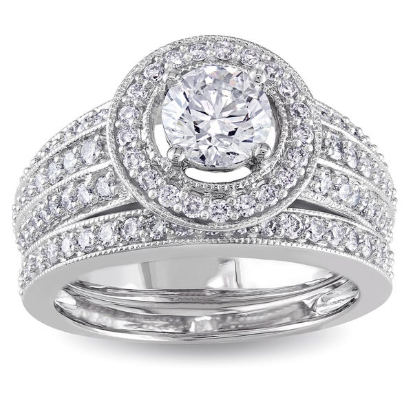 Miadora Signature Collection 14k White Gold 1 1/2ct TDW IGL-certified Diamond Bridal Ring Set