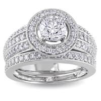 Miadora Signature Collection 14k White Gold 1 1/2ct TDW IGL-certified Diamond Bridal Ring Set
