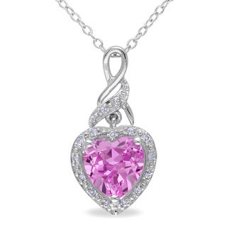 Miadora Sterling Silver Created Pink Sapphire and Diamond Accent Heart Necklace