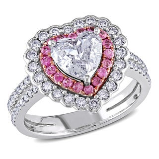 Link to Miadora Signature Collection 14k White Gold Pink Sapphire and 1 1/2ct TDW Diamond Ring Similar Items in Wedding Rings
