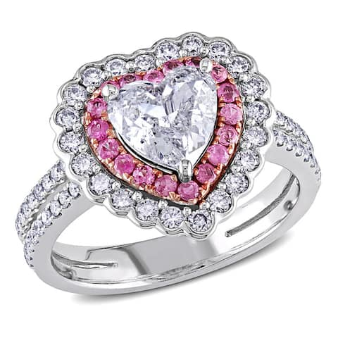 Miadora Signature Collection 14k White Gold Pink Sapphire and 1 1/2ct TDW Diamond Ring