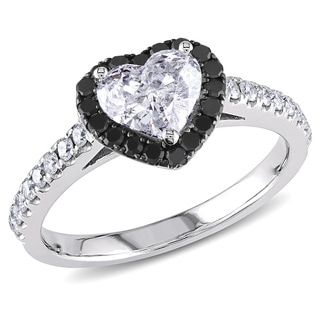 Miadora 14k White Gold 1 1/3ct TDW Black and White Diamond Heart Ring