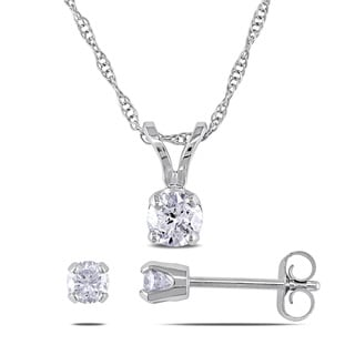 Miadora 10k White Gold 1/2ct TDW Diamond Earrings and Necklace Set