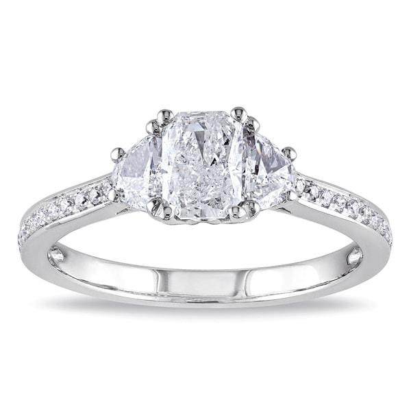 Miadora Signature Collection 14k White Gold 1ct TDW Radiant Cut Diamond Ring