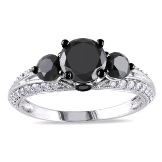 Miadora 14k White Gold 2ct TDW Black and White Diamond 3-Stone Ring