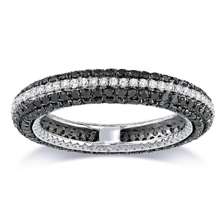 Miadora Signature Collection 14k White Gold 1 1/2ct TDW Black and White Diamond Band