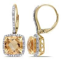 Miadora 10k Yellow Gold Citrine and 1/5ct TDW Diamond Earrings (H-I, I2-I3)