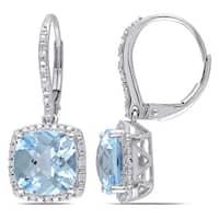 Miadora 10k White Gold Blue Topaz and 1/5ct TDW Diamond Earrings (H-I, I2-I3)