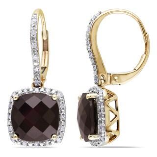 Miadora 10k Yellow Gold Garnet and 1/5ct TDW Diamond Earrings (H-I, I2-I3)