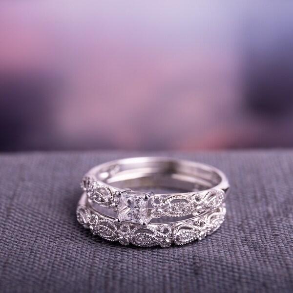 Miadora Sterling Silver 1/2ct TDW Diamond Bridal Ring Set (G-H, I2-I3)