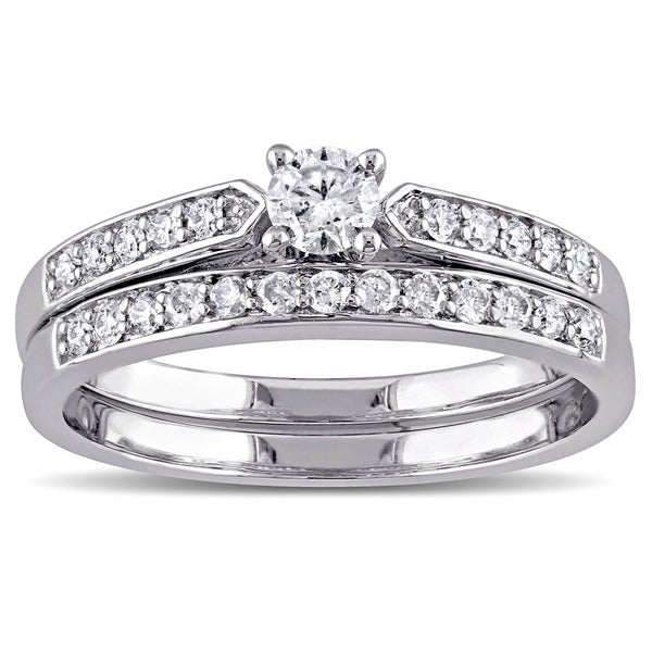 miadora sterling silver 12ct tdw diamond bridal ring set g h i2 - Sterling Silver Diamond Wedding Ring Sets