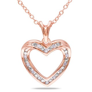 Miadora Rose Plated Silver 1/10ct TDW Diamond Heart Necklace