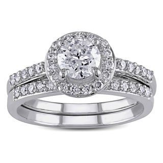 Miadora Signature Collection 10k White Gold 1 1/6ct TDW Diamond Halo Bridal Ring Set
