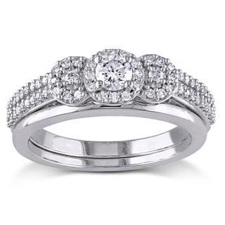 Miadora 10k White Gold 1/2ct TDW Diamond 3-stone Halo Bridal Ring Set
