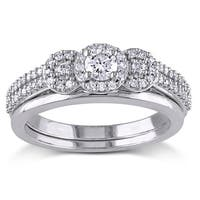 Miadora 10k White Gold 1/2ct TDW Diamond 3-stone Halo Bridal Ring Set