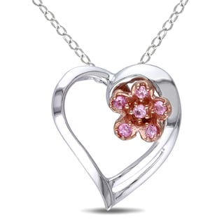 Miadora Sterling Silver Pink Sapphire Heart and Flower Necklace