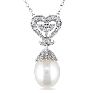 Miadora Sterling Silver Pearl and Diamond Accent Drop Necklace (10-10.5 mm)