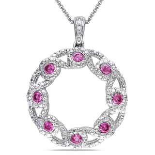 Miadora Sterling Silver Created Pink Sapphire and Diamond Accent Circle Necklace