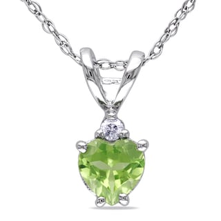 Miadora 10k White Gold Peridot and Diamond Accent Heart Necklace